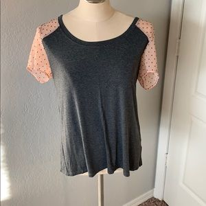 Gray top with pink lace